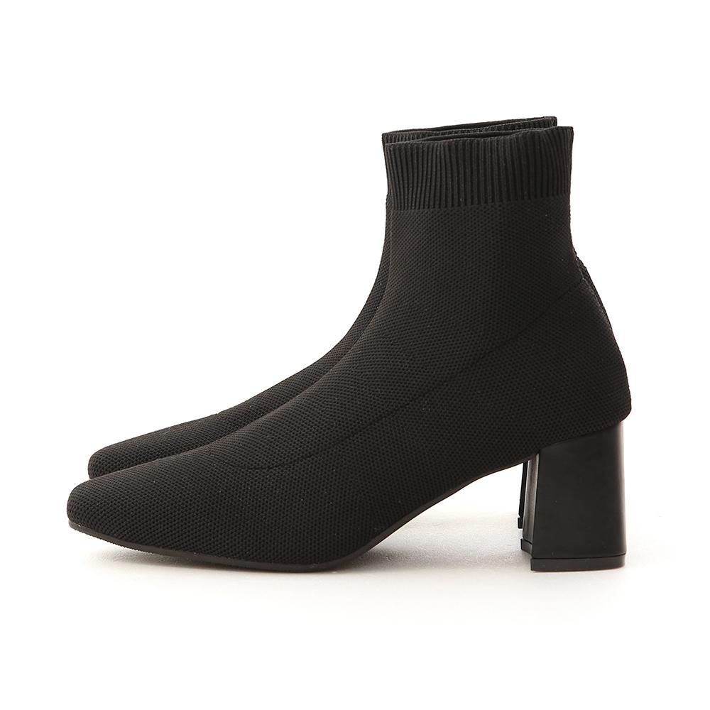 ニットソックスブーツ ブラック