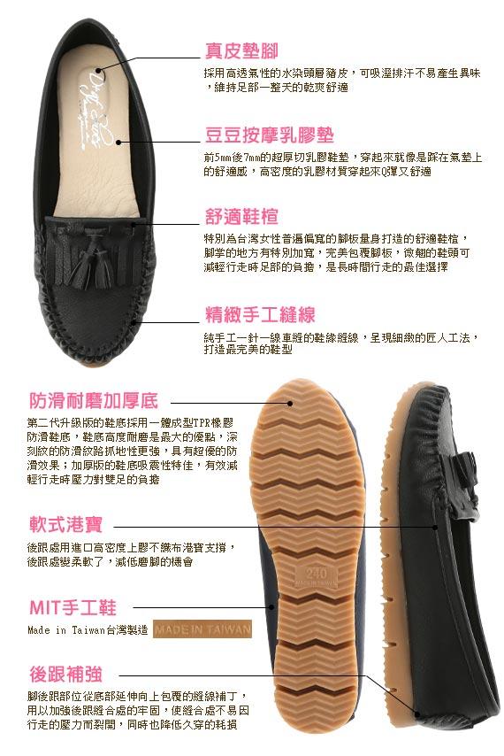 MIT Tassel and Fringe Detail Platform Moccasins Black