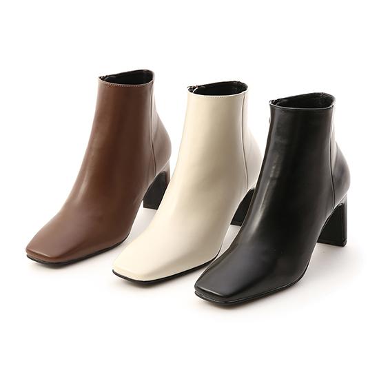 美腿指標.復古方頭美型高跟短靴 人氣白