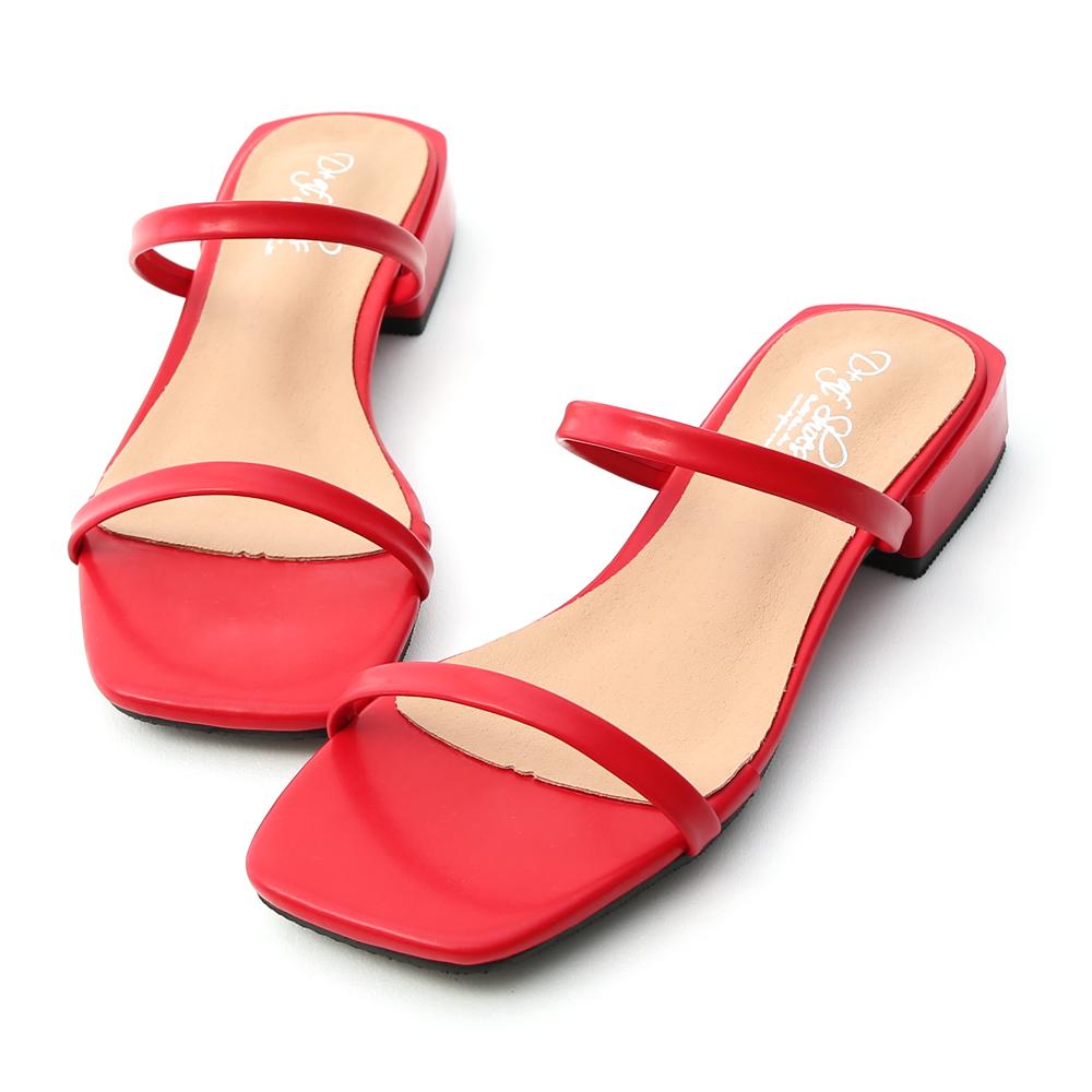 簡約印象.一字雙帶方頭涼拖鞋 魅力紅