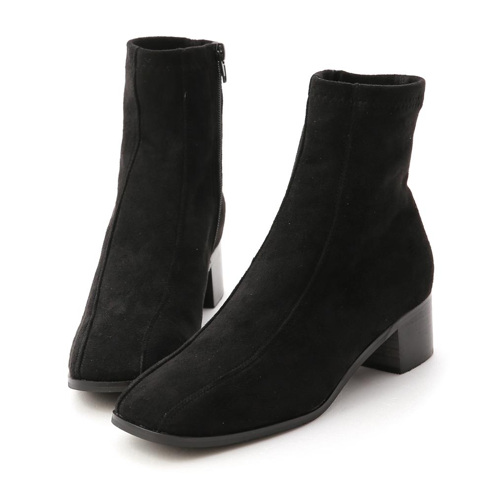 Seam Line Detail Sock Boots Textured black
