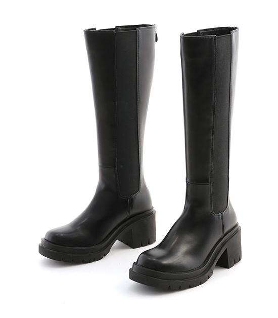 百變個性.厚底高跟切爾西長靴 時尚黑