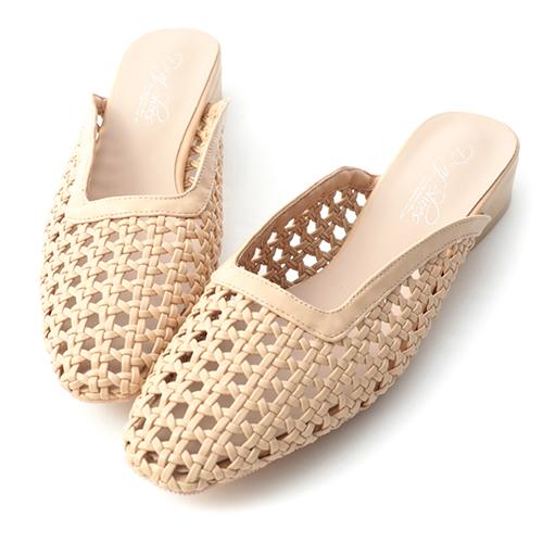 法式小清新.編織鏤空方頭穆勒鞋