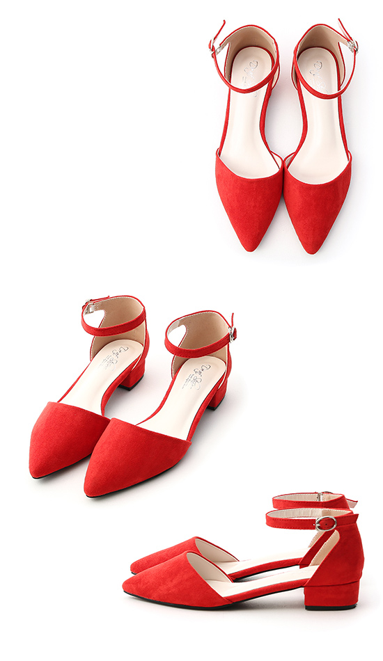 Pointed Toe Mary Jane Shoes Red