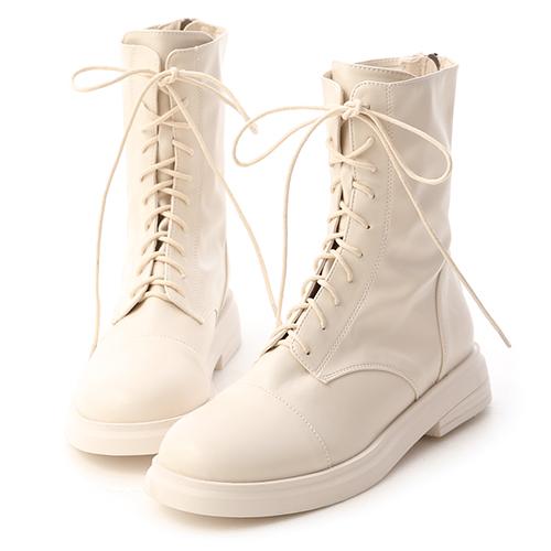 酷感女孩.超軟皮革綁帶中筒靴