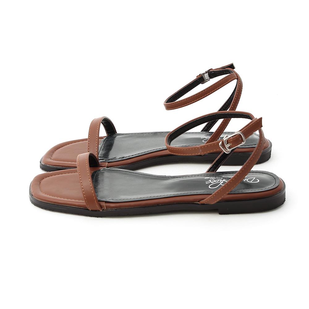 純真夏氛.簡約一字繫踝平底涼鞋 焦糖棕