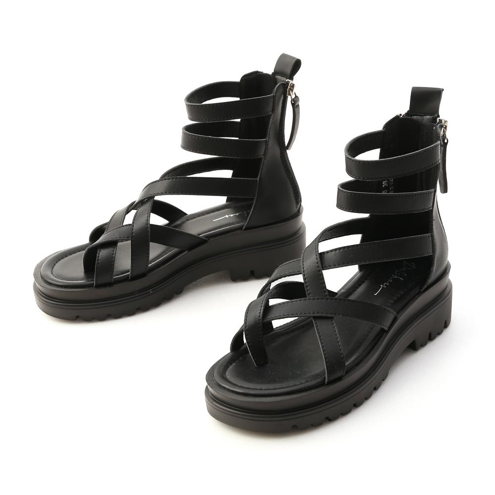 暗黑個性.交叉夾腳厚底羅馬涼鞋 時尚黑