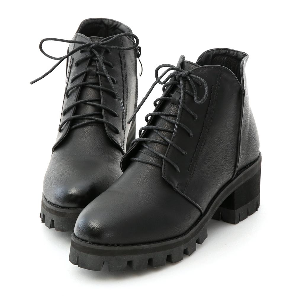 立體車線綁帶厚底短靴