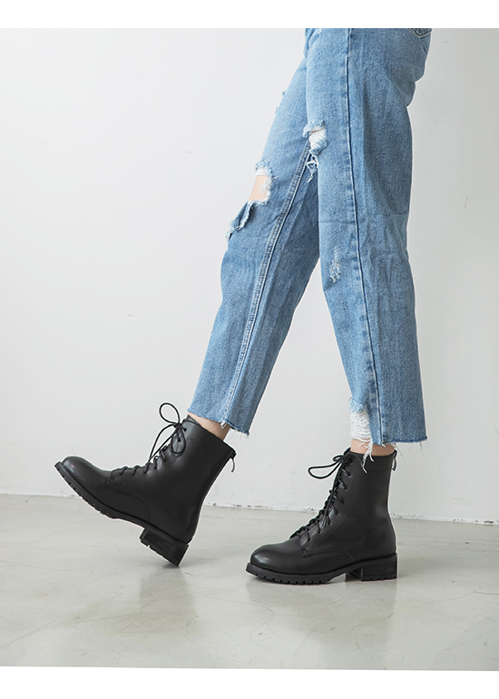 Back Zipper Lace-Up Mid-Tube Boots Black