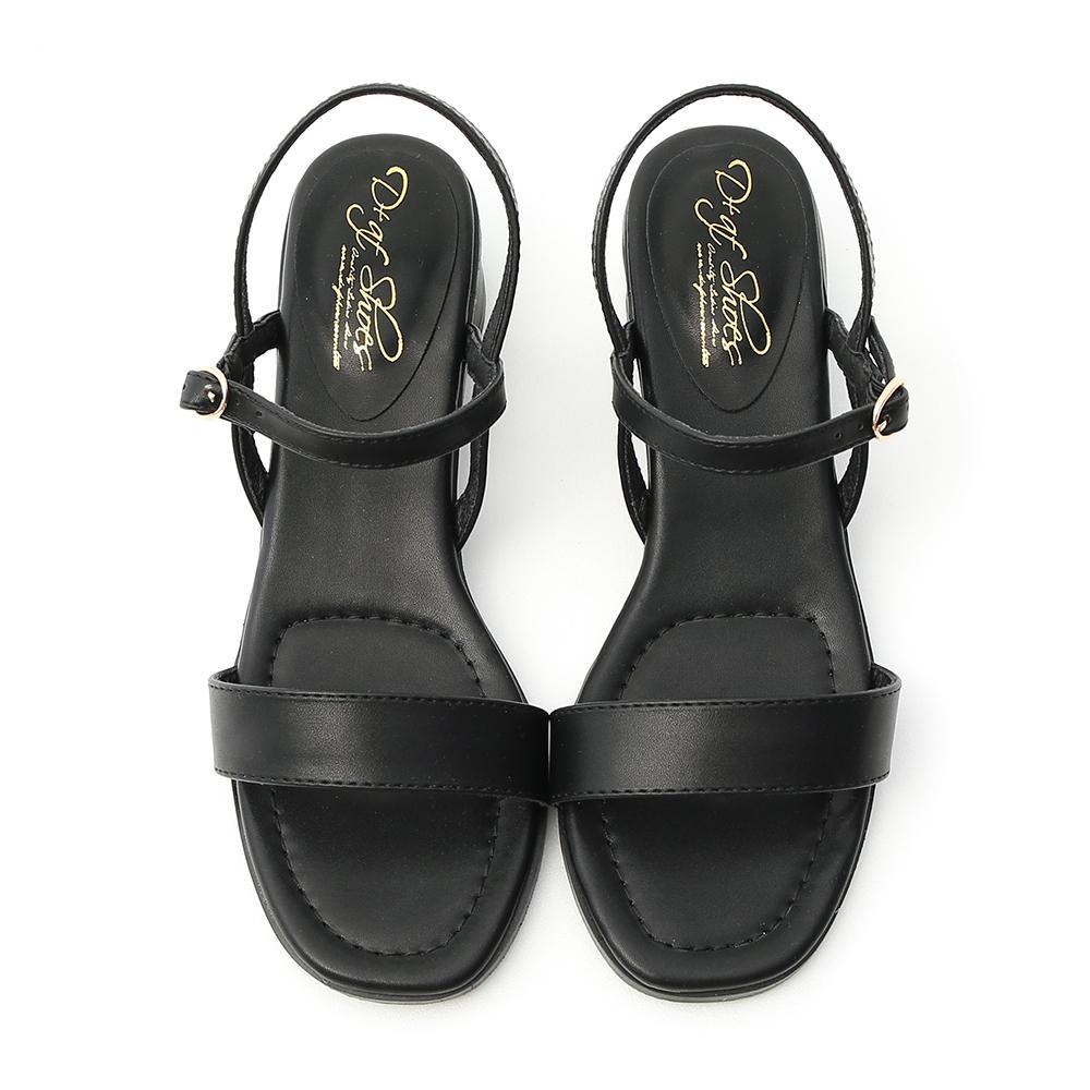 Cylindrical Heel Strap Sandals Black
