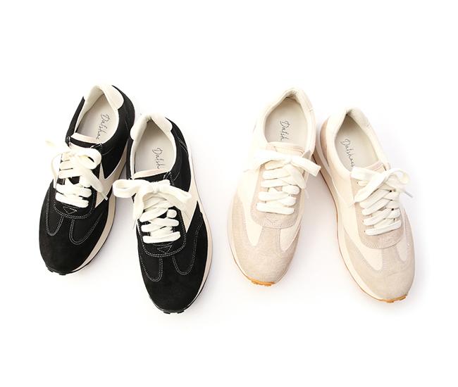 青春潮流.真皮撞色積木底休閒鞋 時尚黑