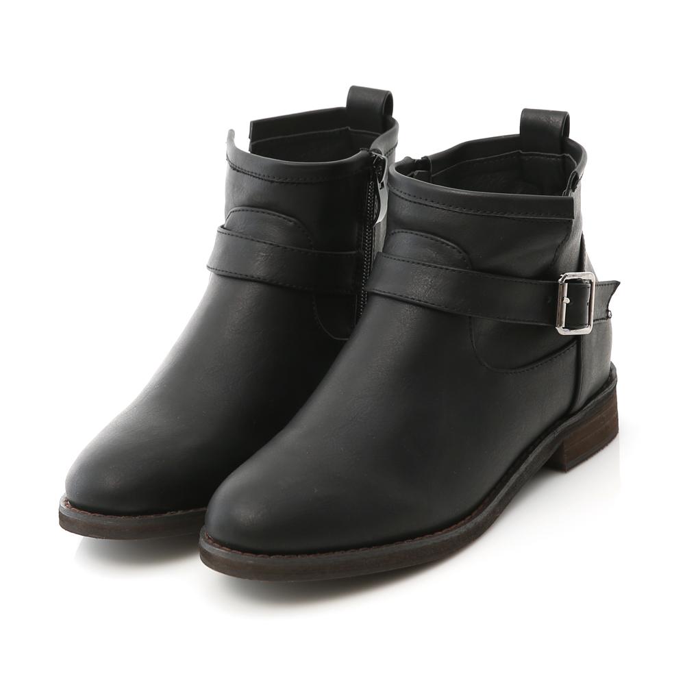 Side Button Platform Boots Black