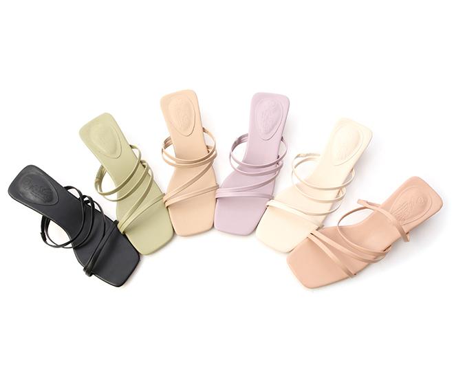 Open-Toe Strappy Low Heel Sandals Nude pink