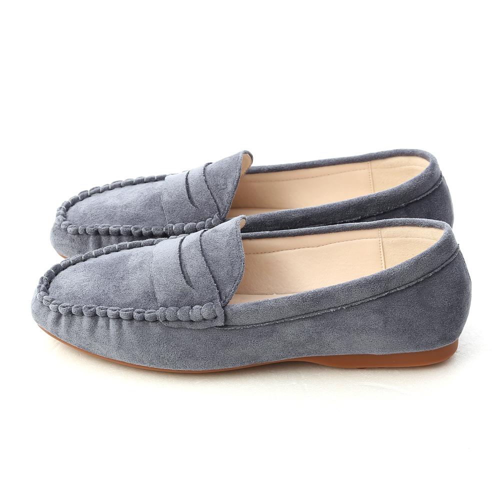 歡樂主張.經典款絨料樂福鞋 迷霧藍