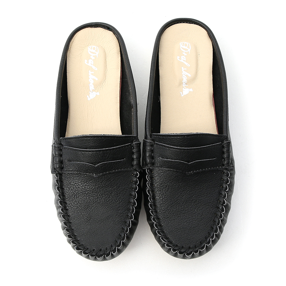 舒適假期.MIT經典款豆豆穆勒鞋 時尚黑