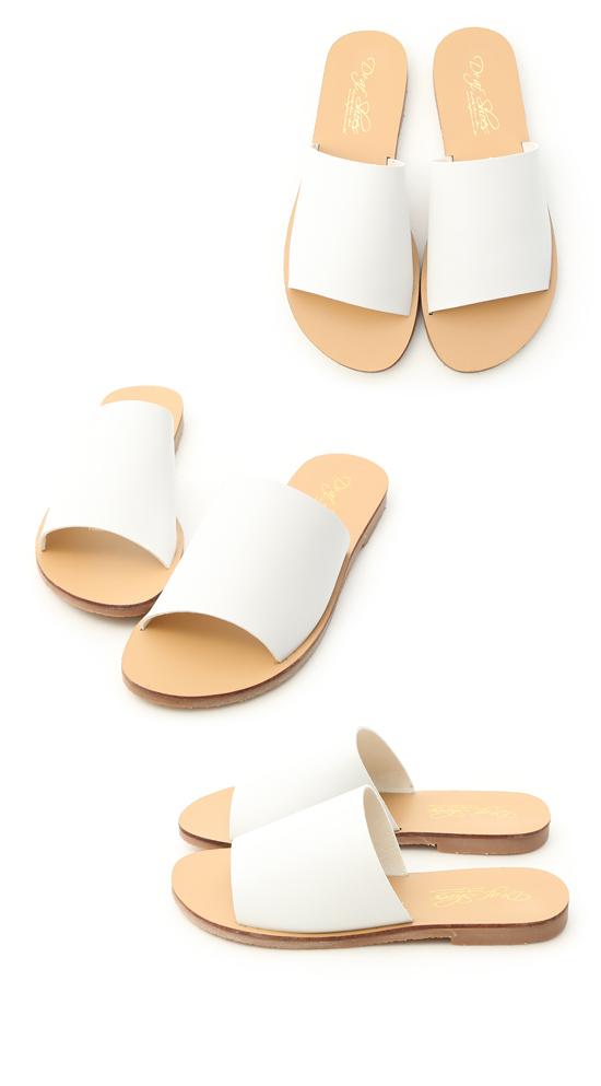 簡約穿搭.寬版一字平底涼拖鞋 人氣白