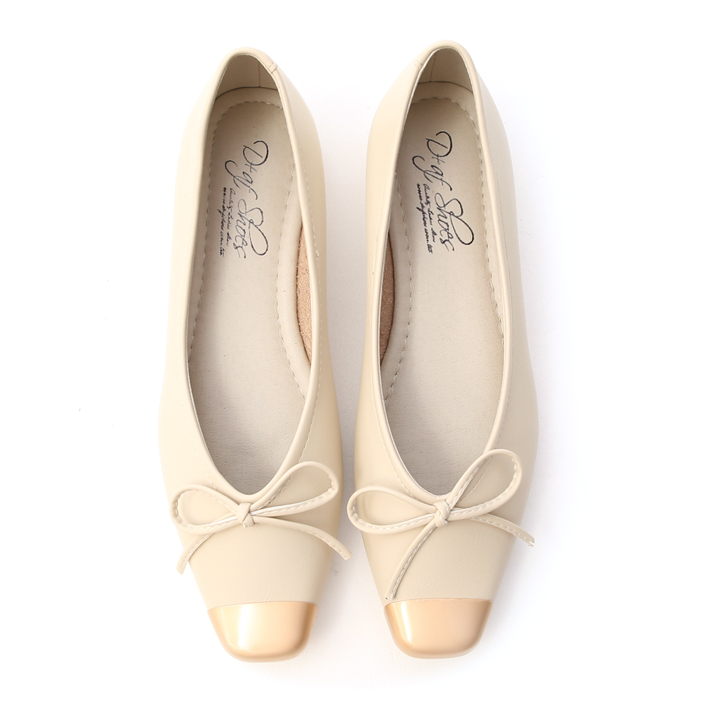名媛典雅.金屬拼接芭蕾娃娃鞋 香草米