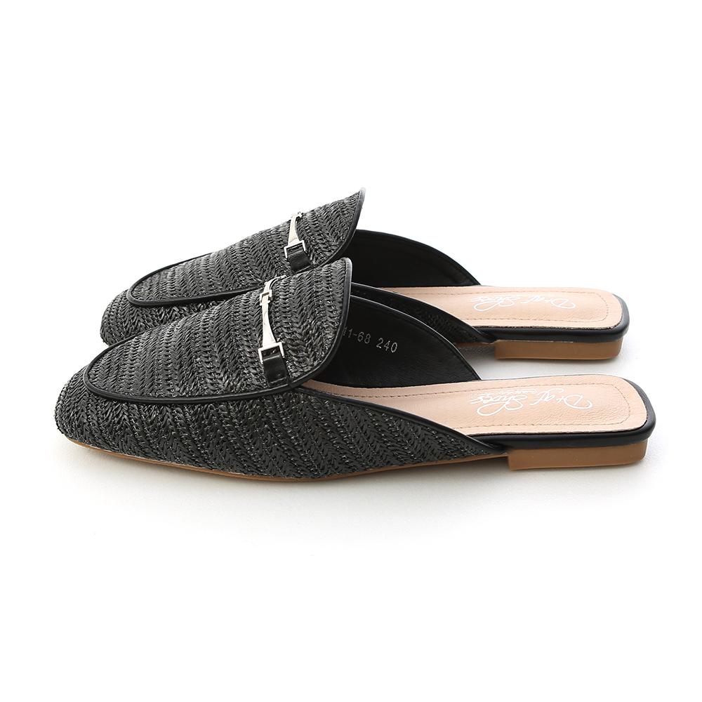 Simple Horsebit Woven Mules Black