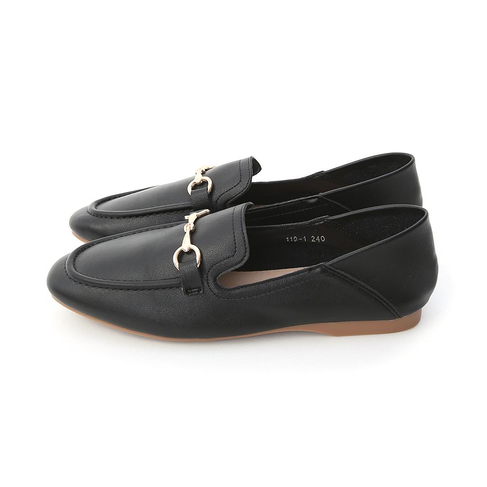 Horsebit Almond Toe Fold Back Loafers Black