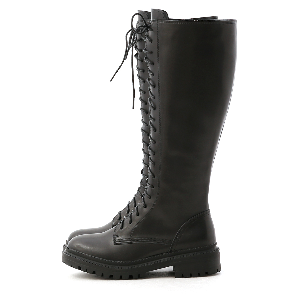 Thick Sole Lace-Up Tall Boots Black