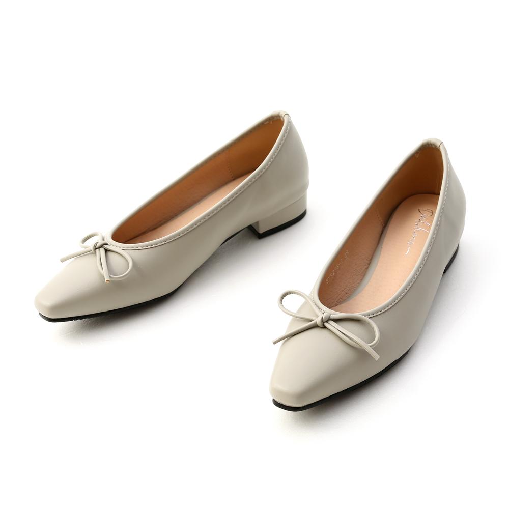 漫步女孩.尖頭低跟芭蕾娃娃鞋 鼠尾草綠