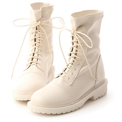 率性首選.超軟皮革綁帶中筒靴