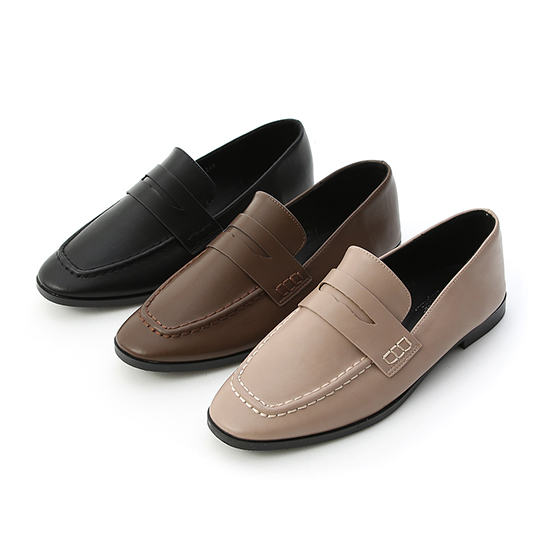 Classic Square Toe Loafers Mocha grey