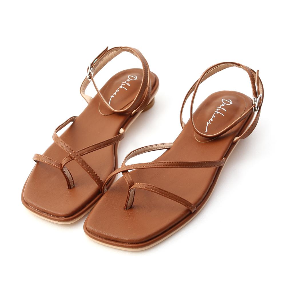 清新主張.細帶夾腳小圓跟涼鞋 焦糖棕