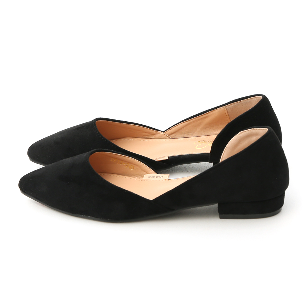Faux Suede Pointed Toe D'orsay Shoes Black