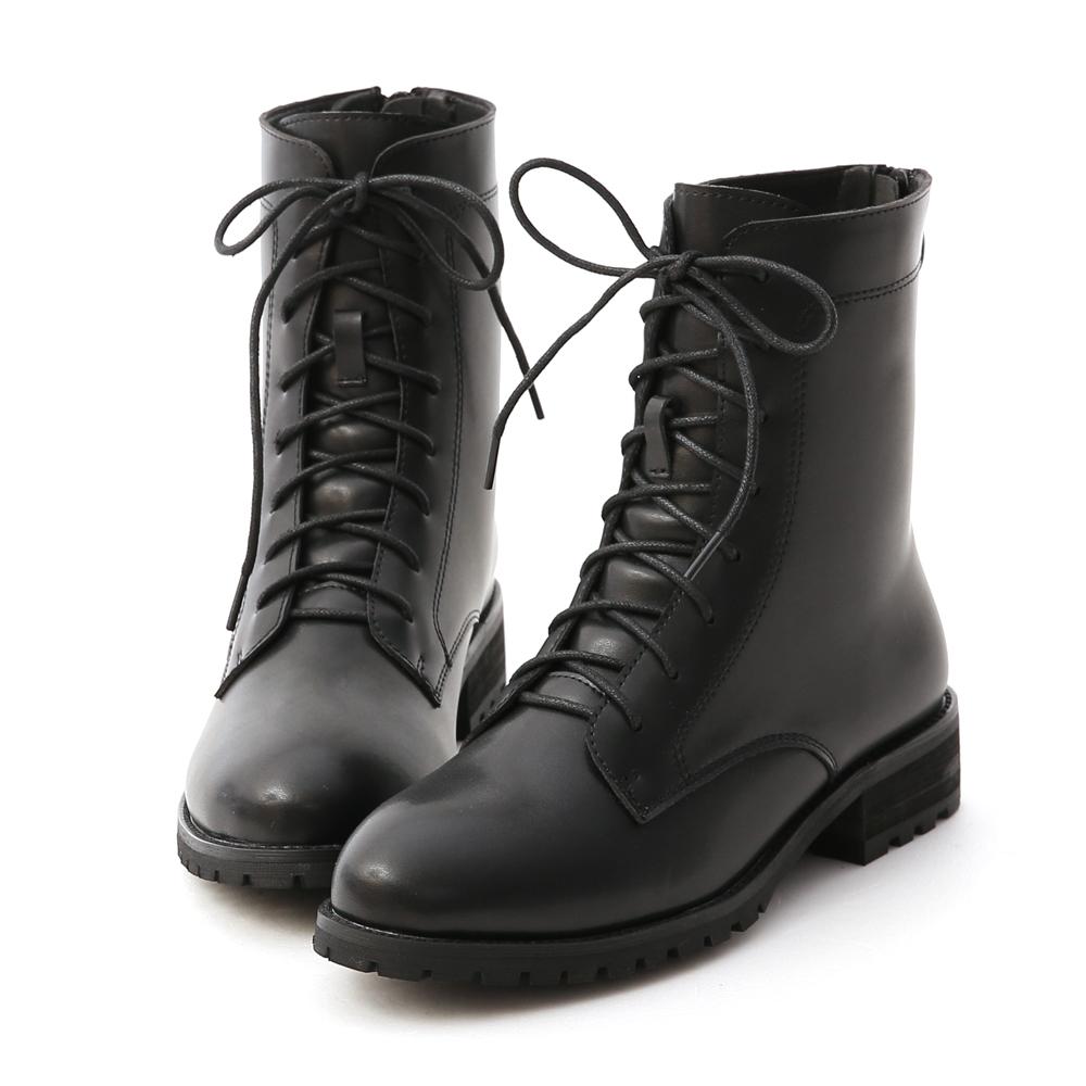 俐落酷感.後拉鍊綁帶中筒馬汀靴 時尚黑