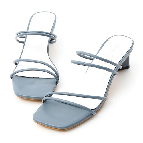 D+AF 夏日美學.二穿法細帶積木跟涼鞋