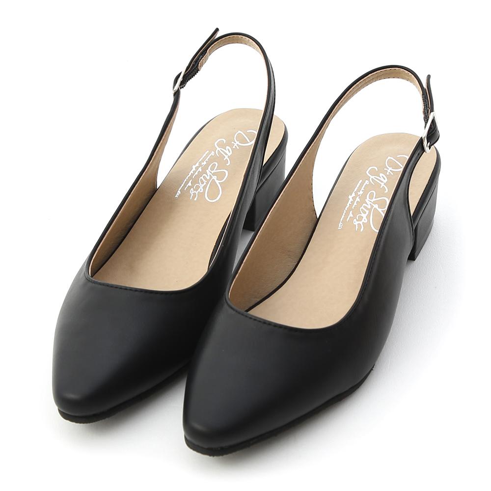 舒適美型.MIT素面尖頭後空低跟鞋 時尚黑