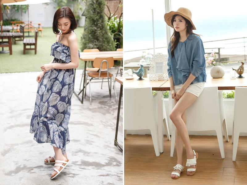白色平底涼鞋穿搭照,搭配平口洋裝或是短褲立刻打造渡假風情