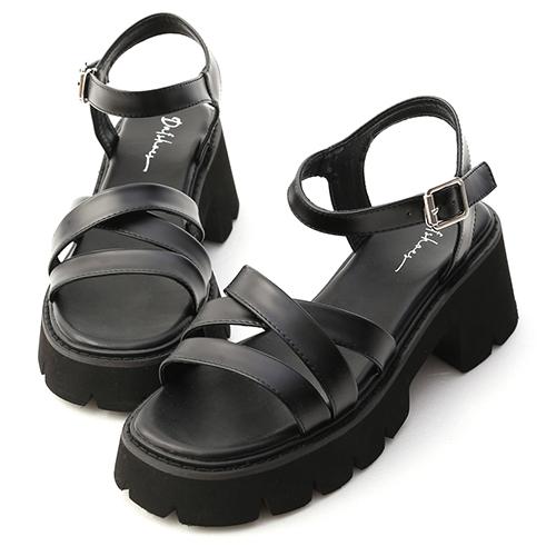 酷黑潮流.一字交叉厚底羅馬涼鞋