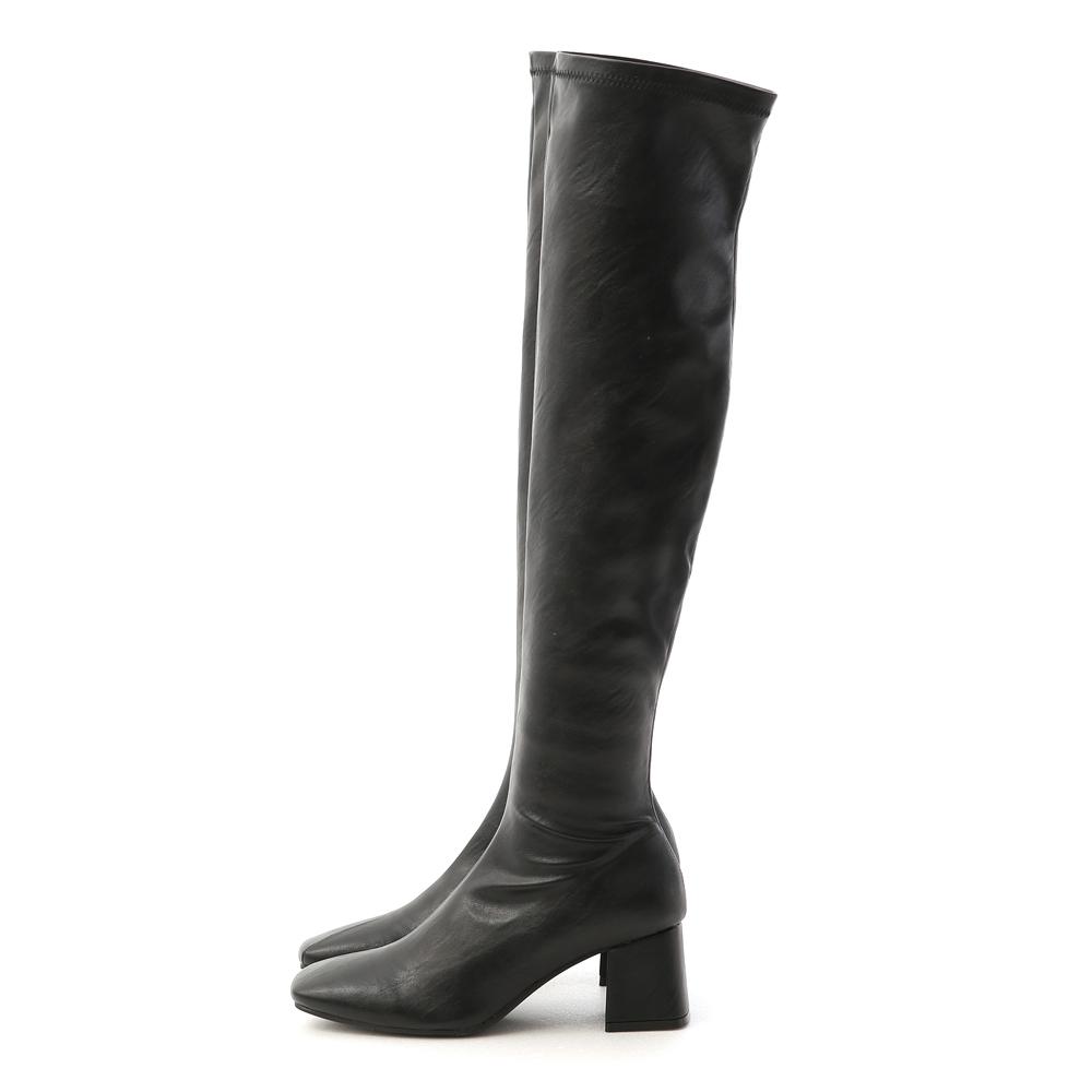 Classic Square Toe Tall Boots Black