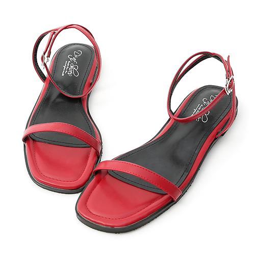 D+AF 純真夏氛.簡約一字繫踝平底涼鞋