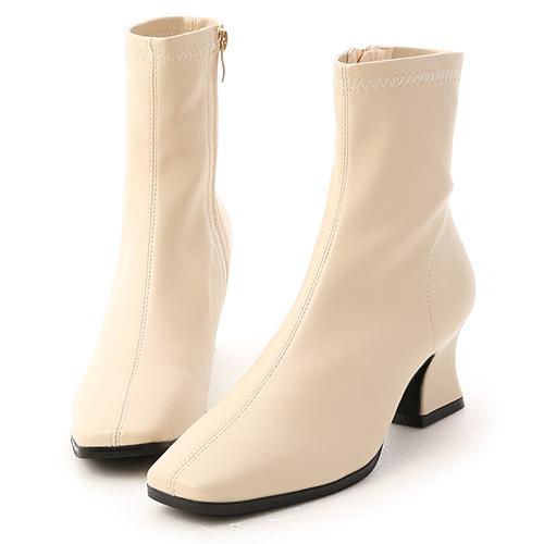 潮流專屬.復古方頭馬蹄跟襪靴