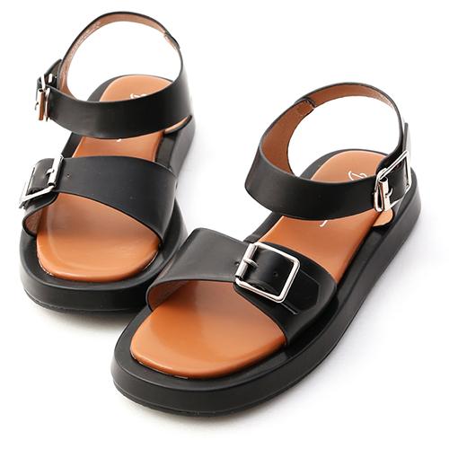 獨創質感.雙釦環厚底涼鞋