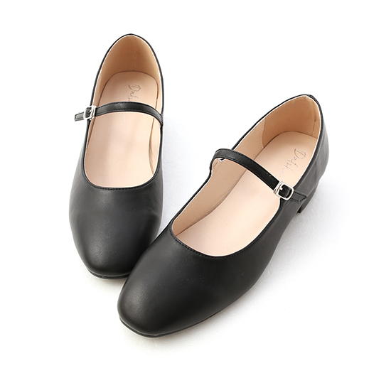Round Toe Strappy Low Heel Mary Jane Shoes Black