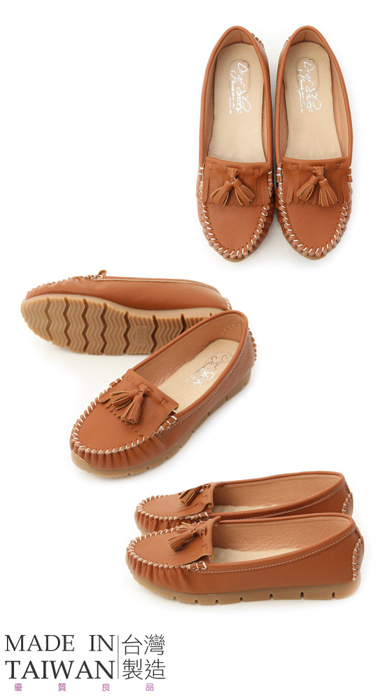 MIT Tassel and Fringe Detail Platform Moccasins Brown