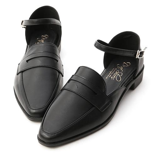 學院時光.微尖頭踝繫帶樂福鞋