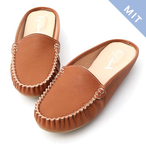 D+AF 舒適樂活.MIT素面豆豆穆勒鞋