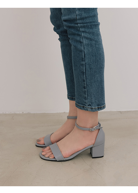 MIT Square Toe Ankle Strap Mid Heel Sandals Serenity Blue