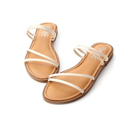 清涼夏氛.四條線Q軟墊平底涼鞋 香草白