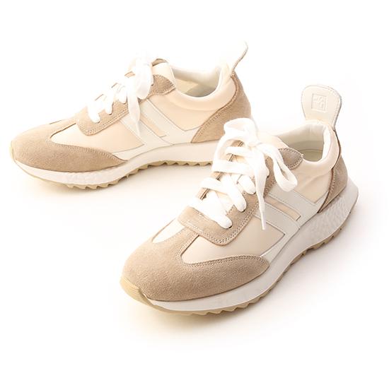 新潮話題.異材質拼接增高休閒鞋 淺米灰