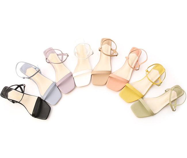 Square Toe Ankle Strap Mid Heel Sandals Serenity Blue
