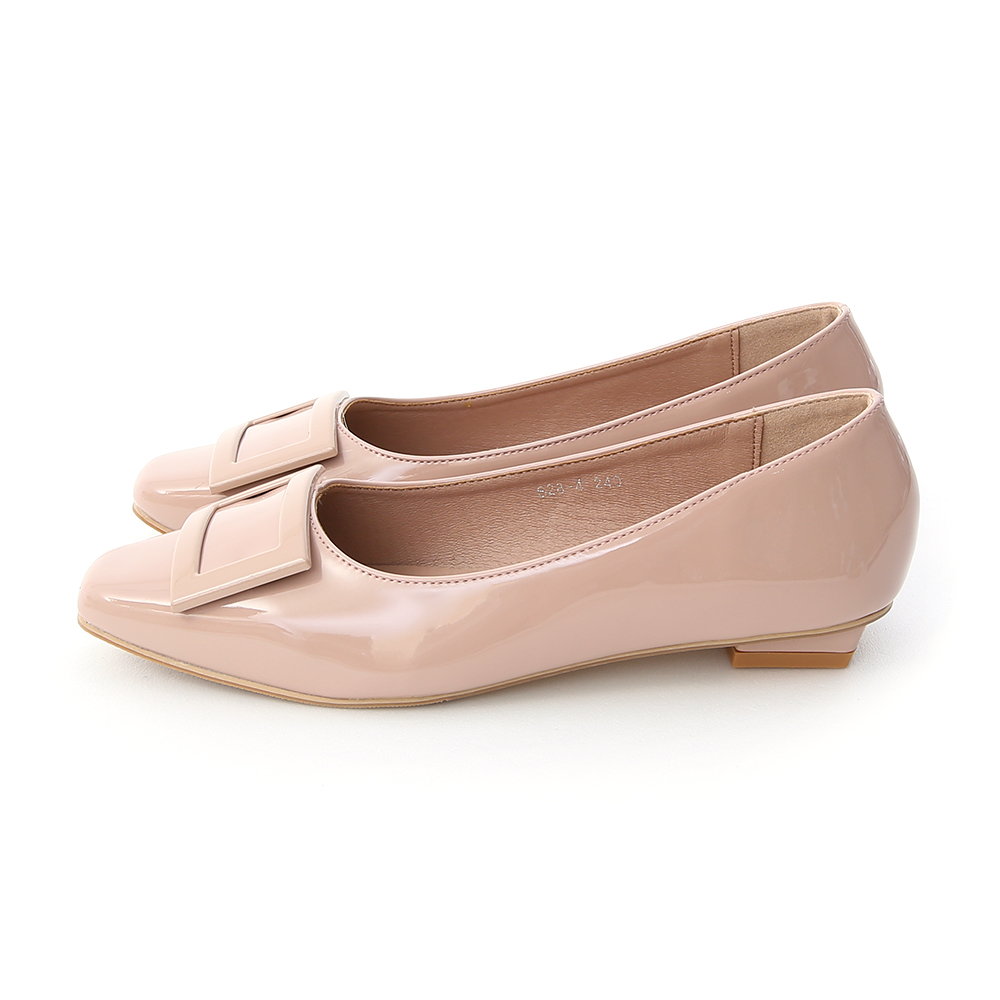 Square Buckle Patent Leather Flats Nude pink