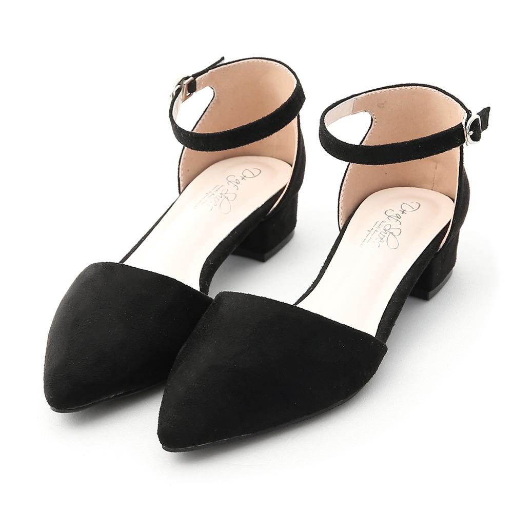完美視覺.尖頭側空低跟瑪莉珍鞋 時尚黑