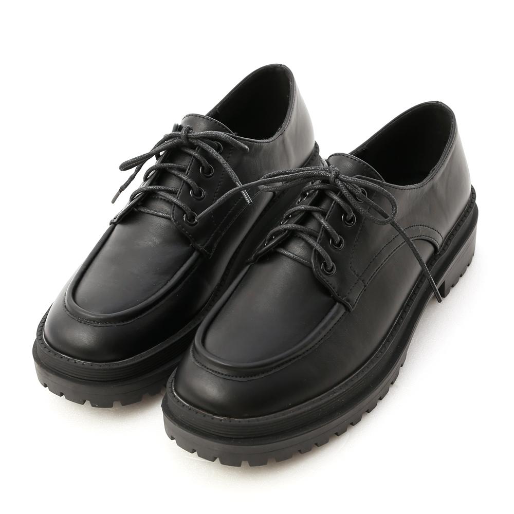 純真年代.鬆糕底綁帶牛津鞋 時尚黑