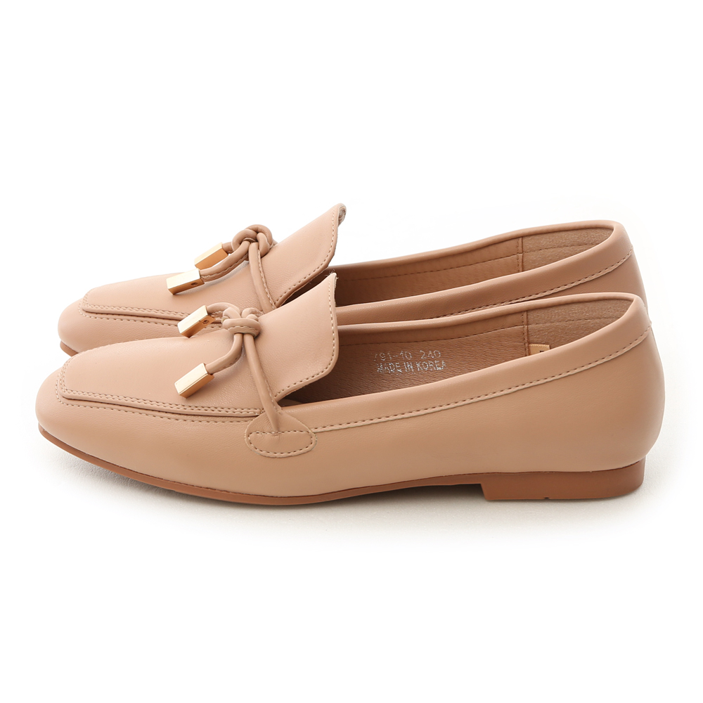 Tie Detail Soft Faux Leather Loafers Apricot